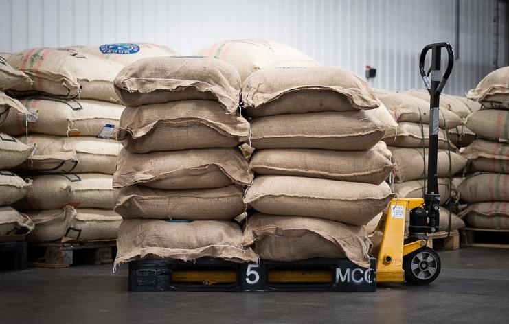 coffee sacks containing coffee from Peru