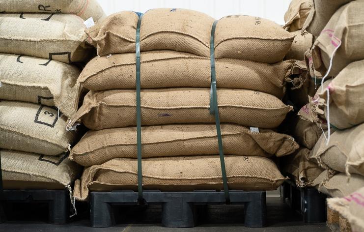 Sacks of decaffeinated coffee