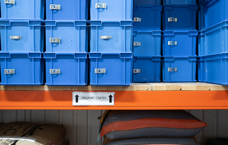 Blue Organic Coffee Crates