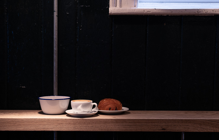 Cup of coffee and a pastry in our Borough Market shop
